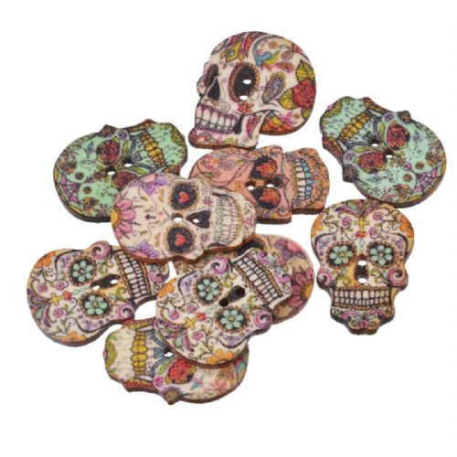 25 Hinoki Wood Day Of The Dead  Buttons  2 Holes Sugar Skull s
